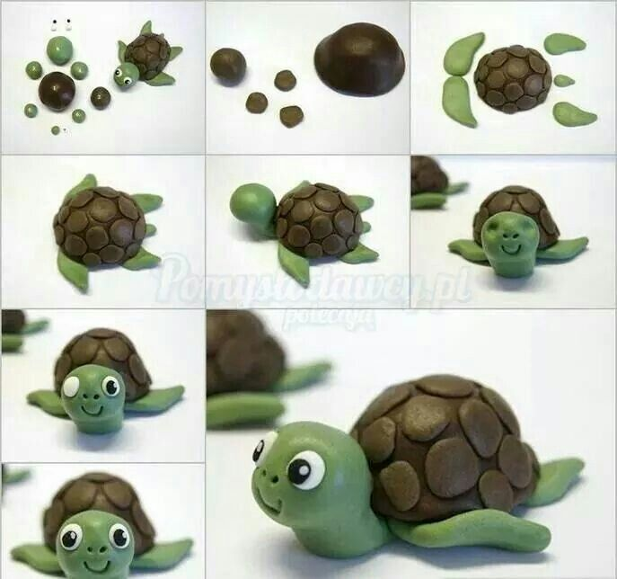 Tuto tortue pate a sucre fimo pinterest tortue - Personnage en pate fimo ...