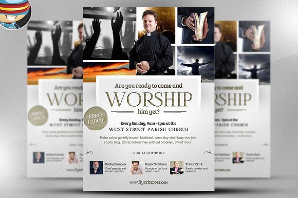 Worship Church Christian Flyer by FlyerHeroes on Creative Market - christian flyer templates
