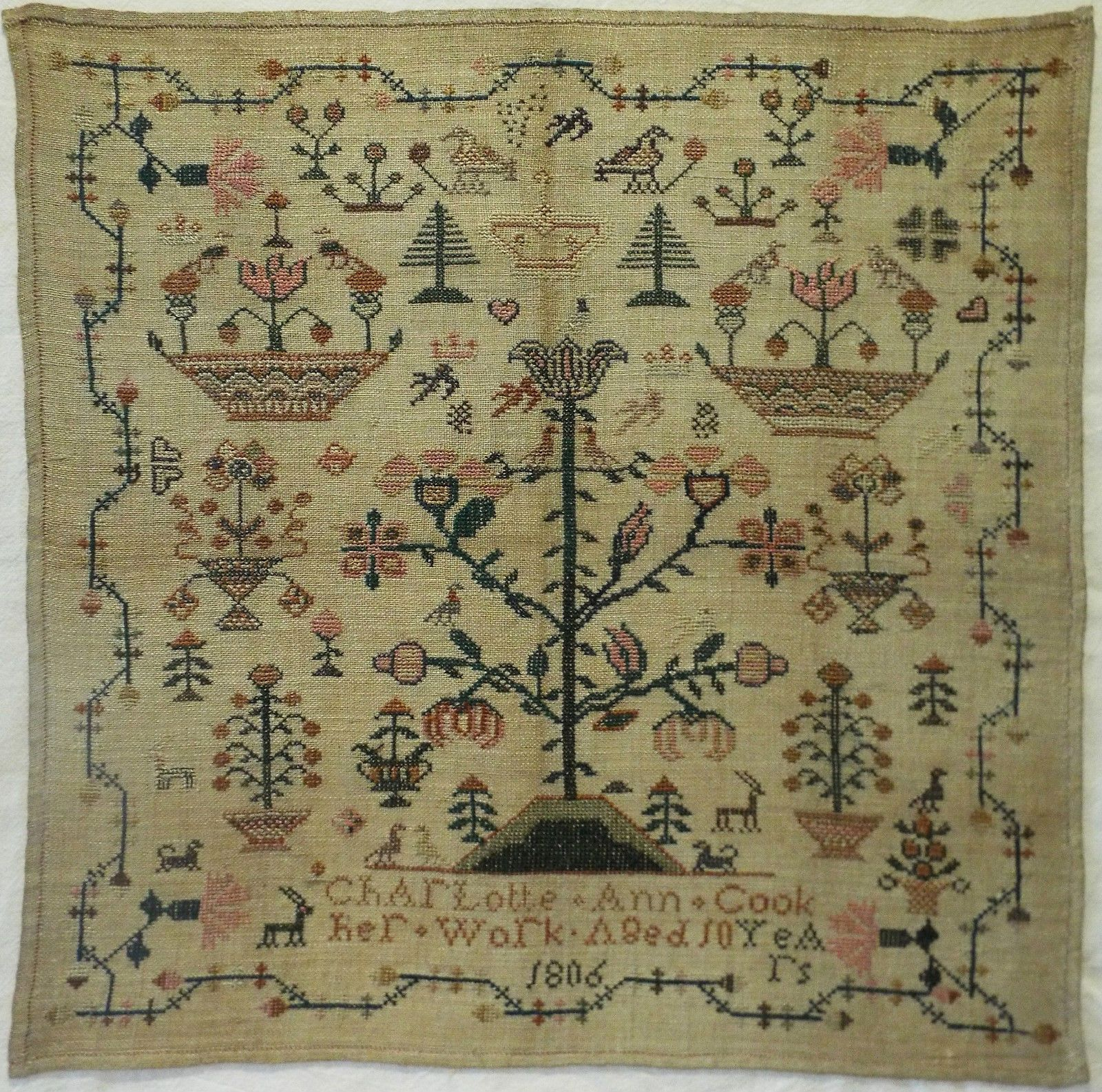 Early 19th Century Floral Motif Sampler by Charlotte Ann Cook Aged 10 1806 | eBay