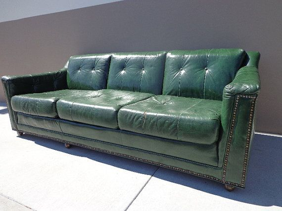 Vintage Green Leather Sofa Couch Br Tacks Han Moore Baker Style Seating Mcm Chesterfield Rustic Lounge Settee Tufted Nail Head Trim