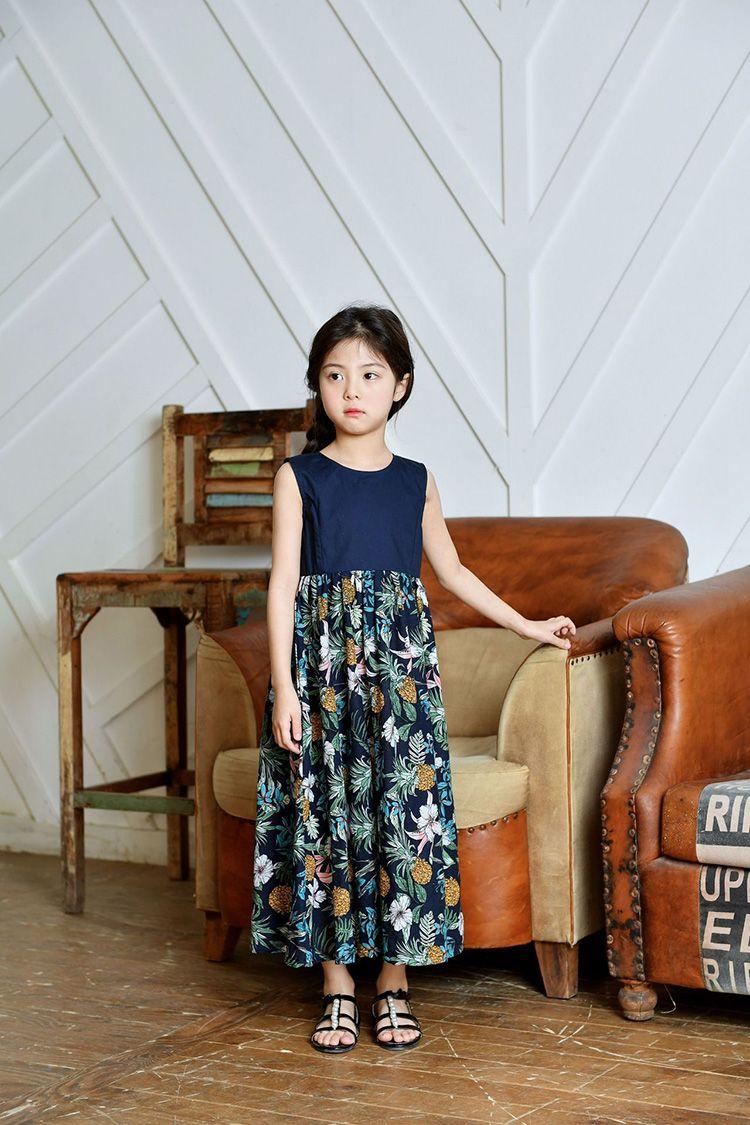 d5863989e431f  楽天市場 子供服 ノースリーブ ワンピース マキシ丈 花柄ワンピース 女の子 キッズ ジュニア