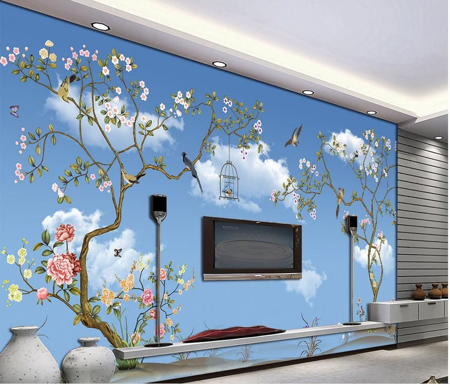 Custom 3d Wallpaper Blue Sky And White Clouds Tree Bird Customized Wallpaper For Walls Mural 3d Wallpaper 3d Wallpaper Blue 3d Wallpaper Wall Wallpaper