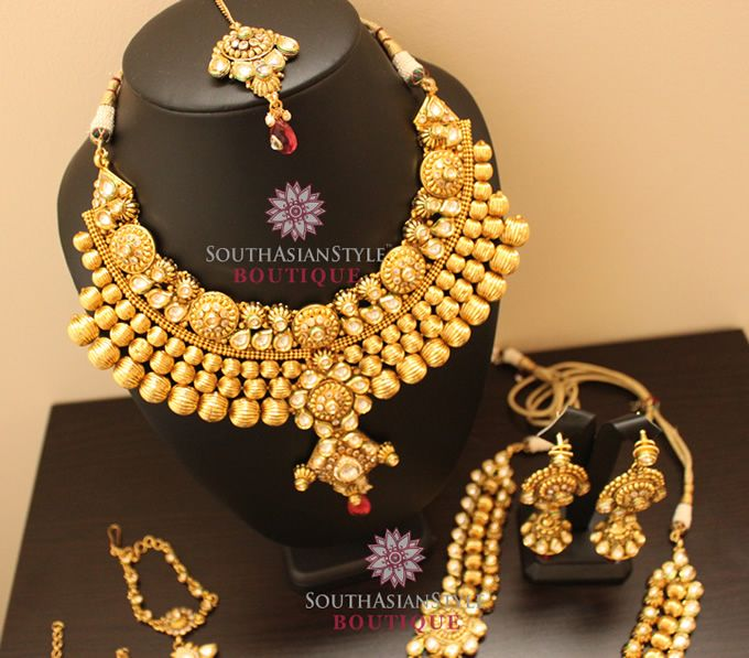 Antique Gold Gram Kundan Bridal Jewellery Set 04
