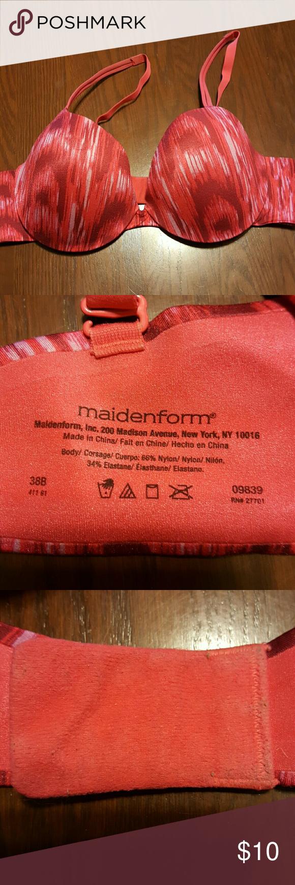 Maidenform 09839 pink/red bra underwire, padded