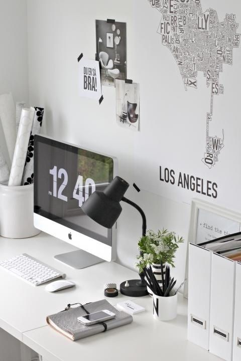 #interior #workplace #styling #scandinavian #black #white #lettering