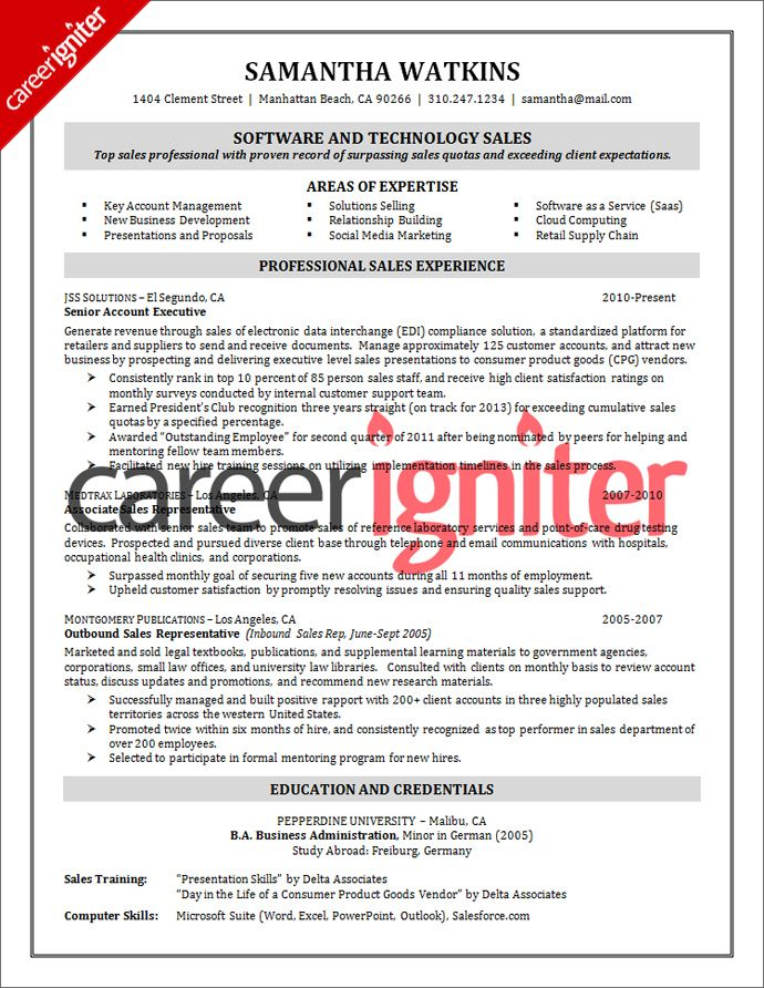 Software Sales Resume Sample Resume Pinterest Sales resume - sales resume sample