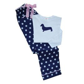 e6e88060bd21 Amazon.com  Dachshund Miniature Ladies Polka Dot PJs  Clothing