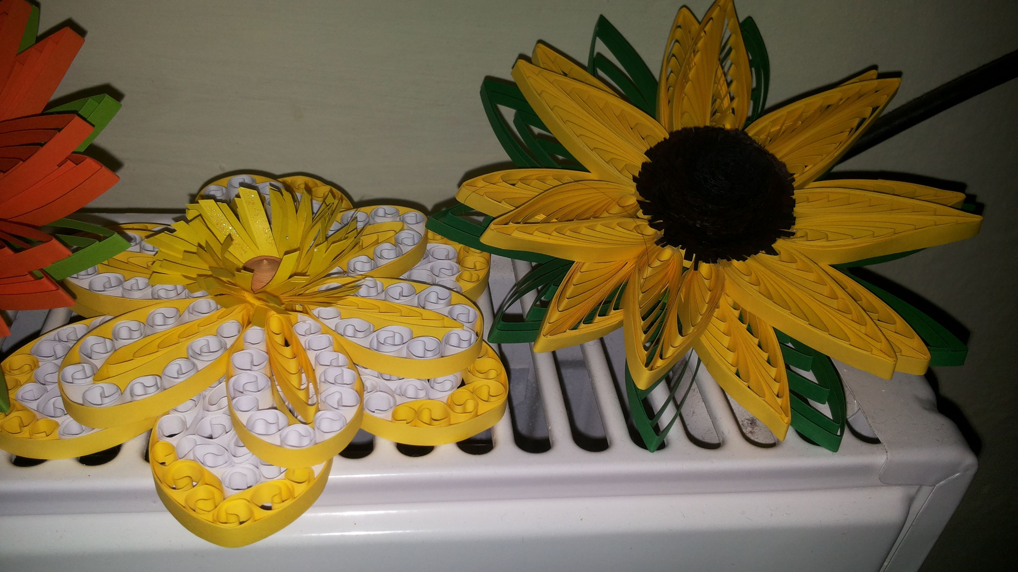 quilled yellow flowers