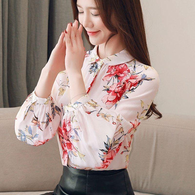 4f4af109db Womens Tops and Blouses Silk Blouse Floral Blusas Femininas Elegante Korean  Fashion Clothing Plus Size XXXL