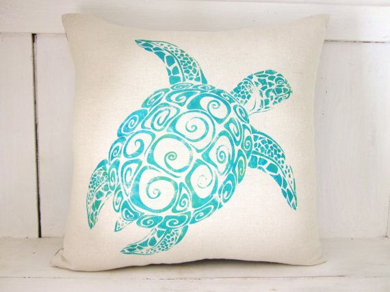 turtle pillow beach decordecorative pillow ocean decor sea turtles shabby - Ocean Decor
