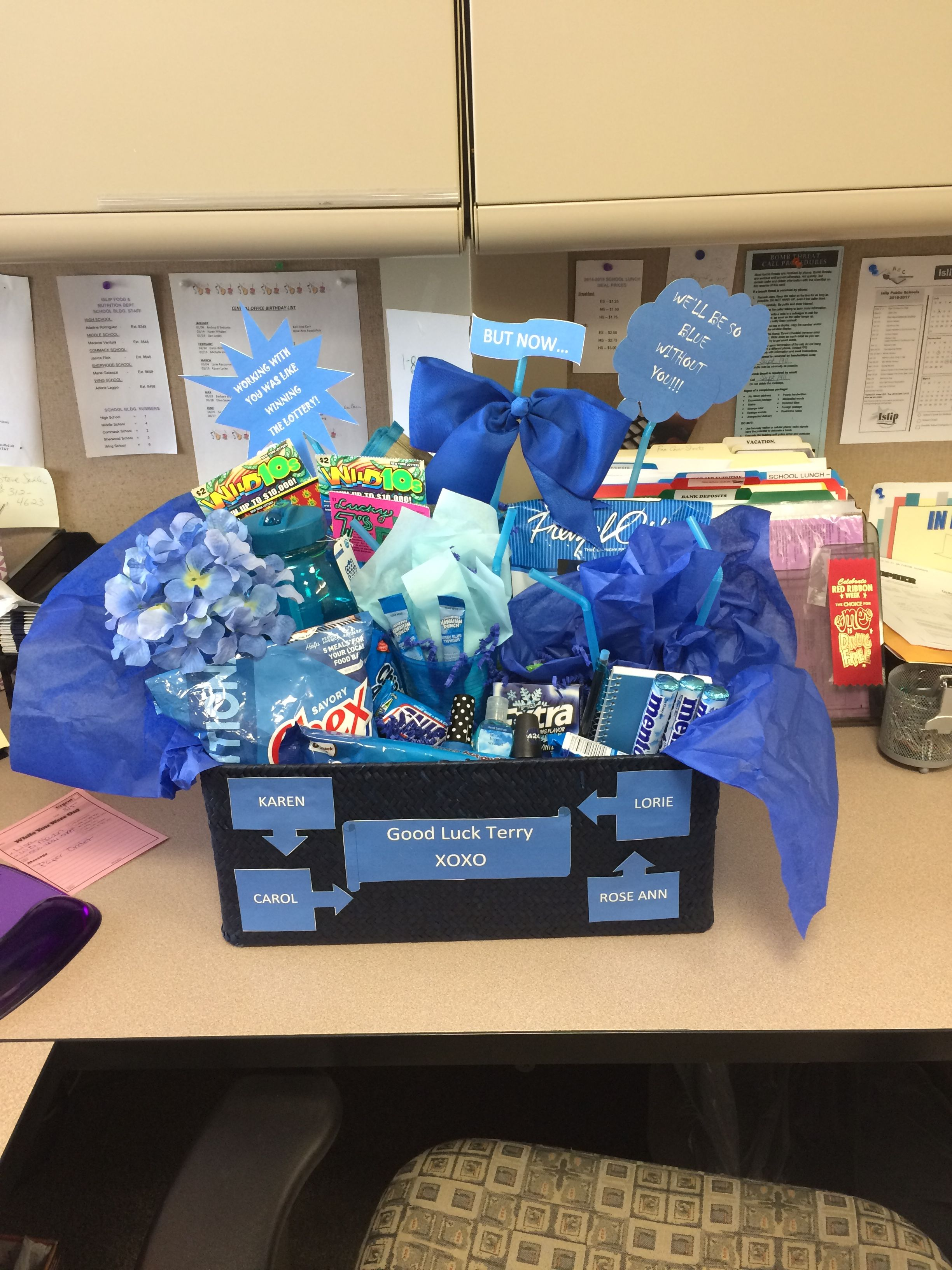 Made this good luck/good bye basket for a co-worker Best Farewell Gift