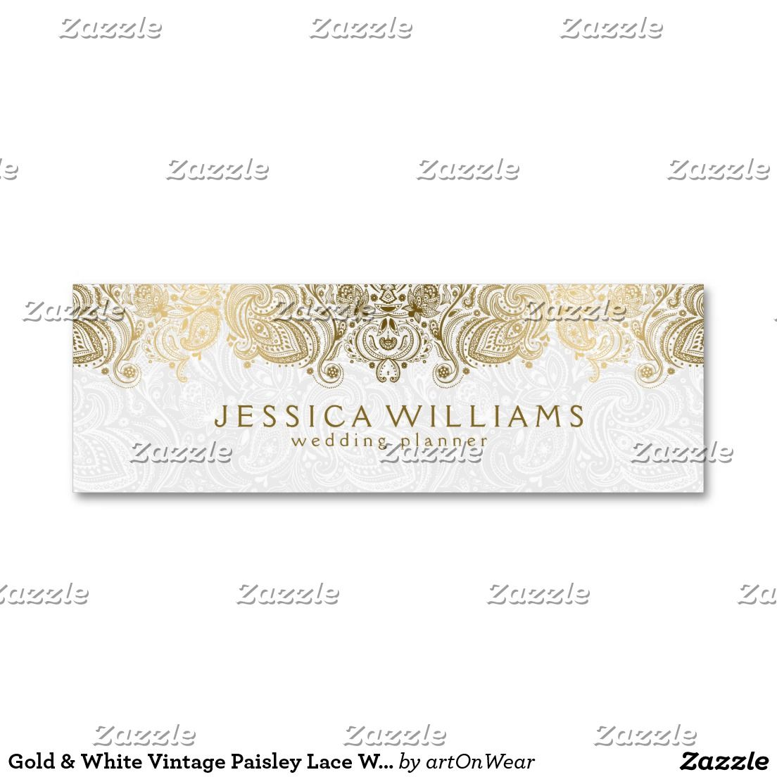 Gold White Vintage Paisley Lace Wedding Planner Mini Business Card