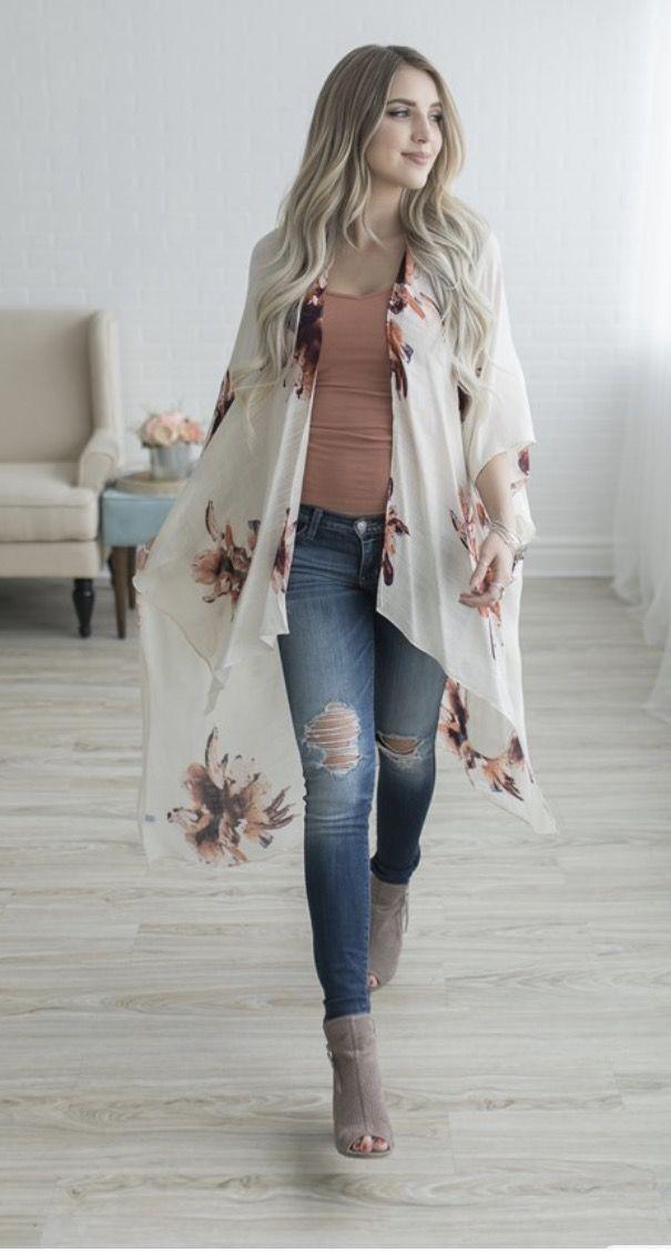White Kimono Cardigan Outfit