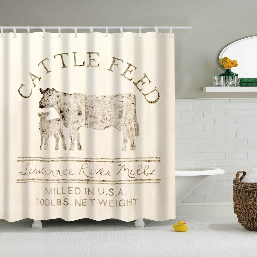 Farmhouse country barn cattle feed shower curtain with