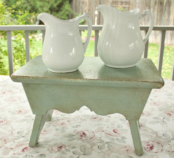 Amazing Vintage Duck Egg Blue Stool With Beautiful Chic