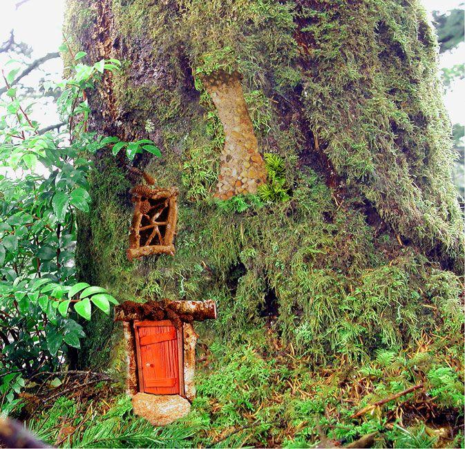 Fairy Treehouse Transformation Kit In More Fairy Habitats At Fairy Woodland Window Door And Chimney For The Fairy Folk Pinterest Gardens