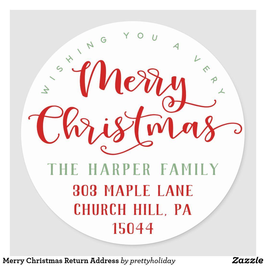 Merry Christmas Return Address Classic Round Sticker