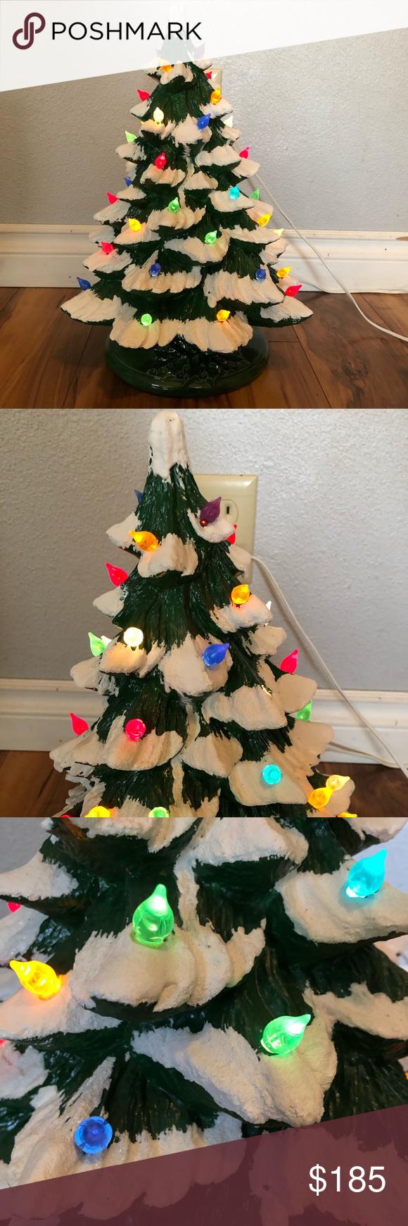 "Large Vintage 17"" light up Christmas tree w base Vintage"