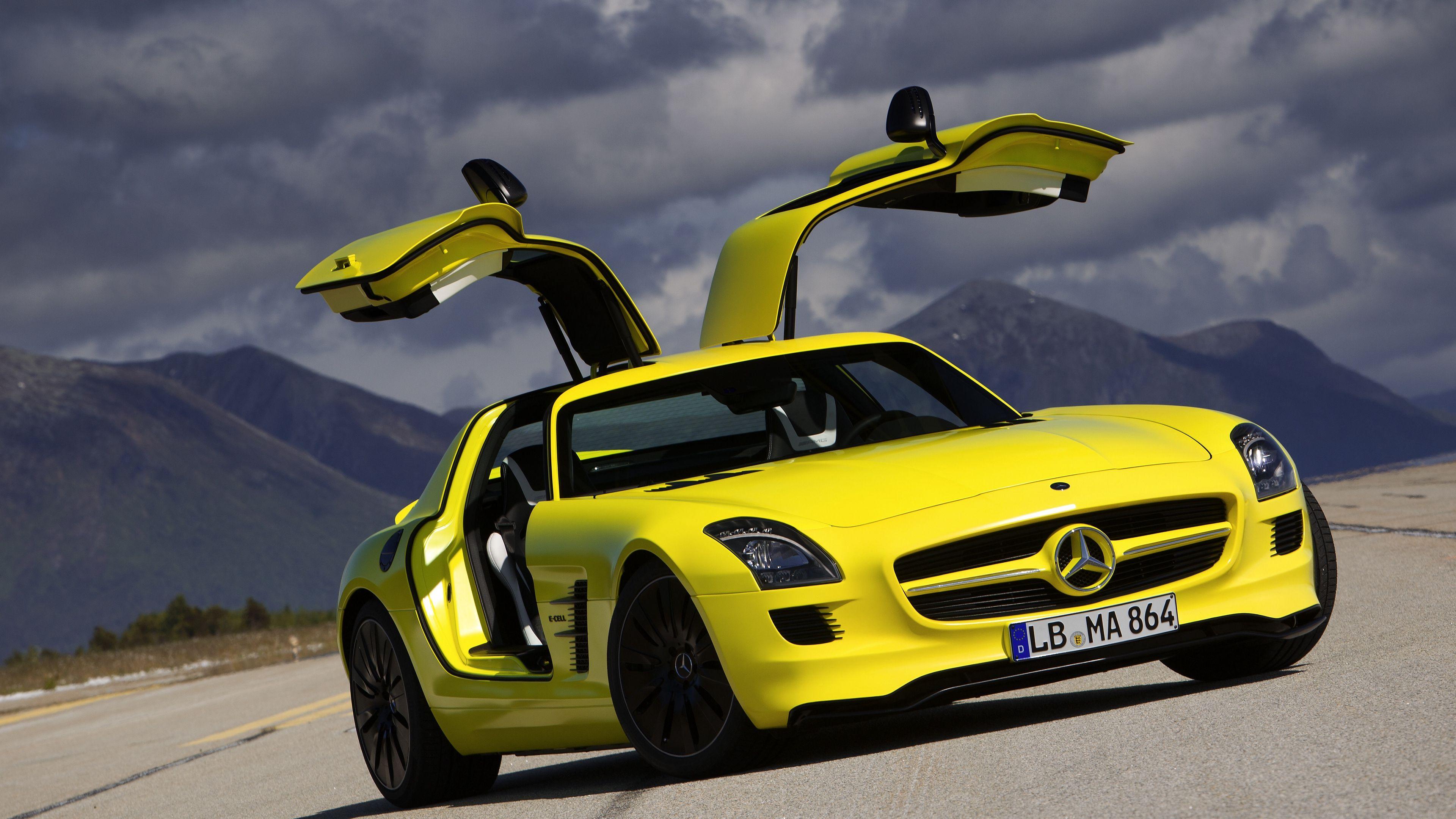 Wallpaper 4k Mercedes Benz Yellow Sls Amg E Cell Coupe 4k