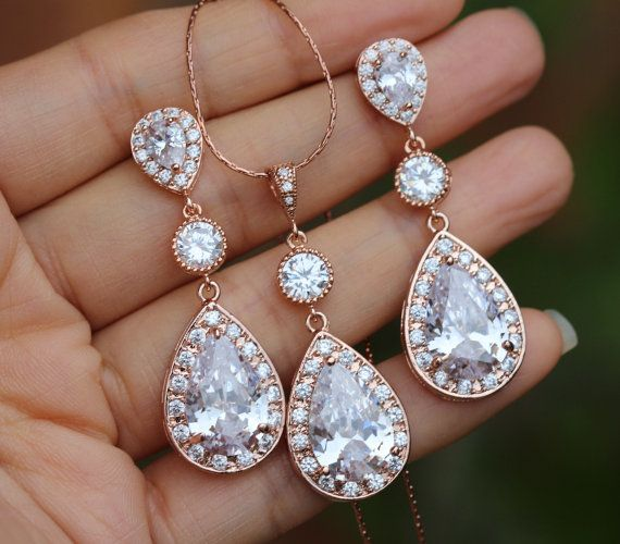 rose gold jewelry set rose gold bridal jewelry set by arbjewelry