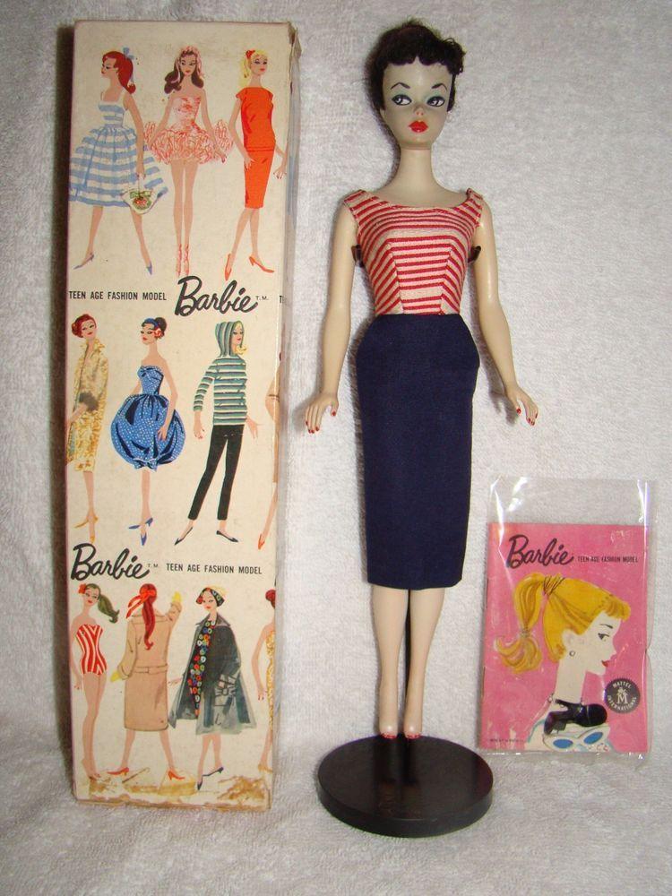 VINTAGE MIB #2 BRUNETTE BARBIE, TM BOX, LINER,TM STAND,HEELS,SUNGLASSES, BOOKLET #Mattel #DollswithClothingAccessories