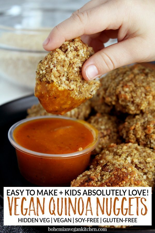 Vegan Nuggets Nuggets are here to stay as one of the top kids foods of all time, right next to pizza and hamburgers. Serve your kids healthy quinoa vegan nuggets that are 100% soy-free and gluten-free, while also packing hidden veggies for an added bonus. Great for kids lunches