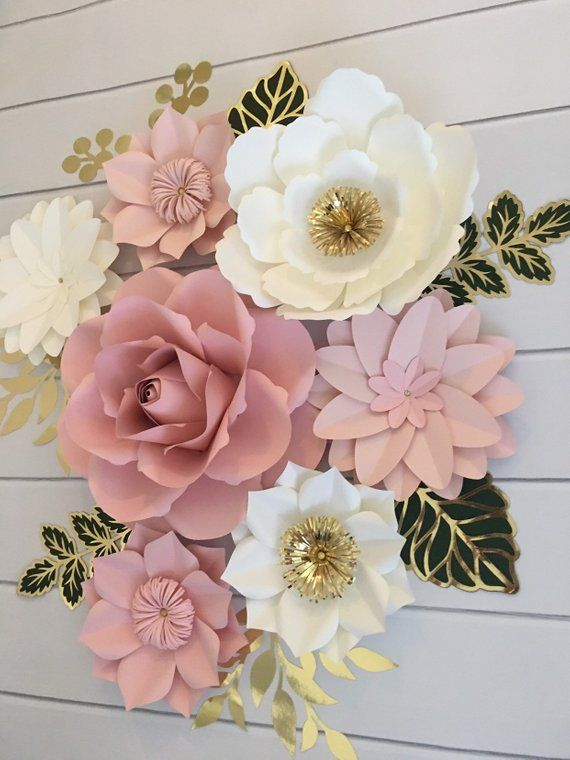 Paper Flowers Wall Decor, Blush Pink paper flowers green leaves, Nursery Wall Decor, Bridal Shower Decor, Paper Flowers Backdrop