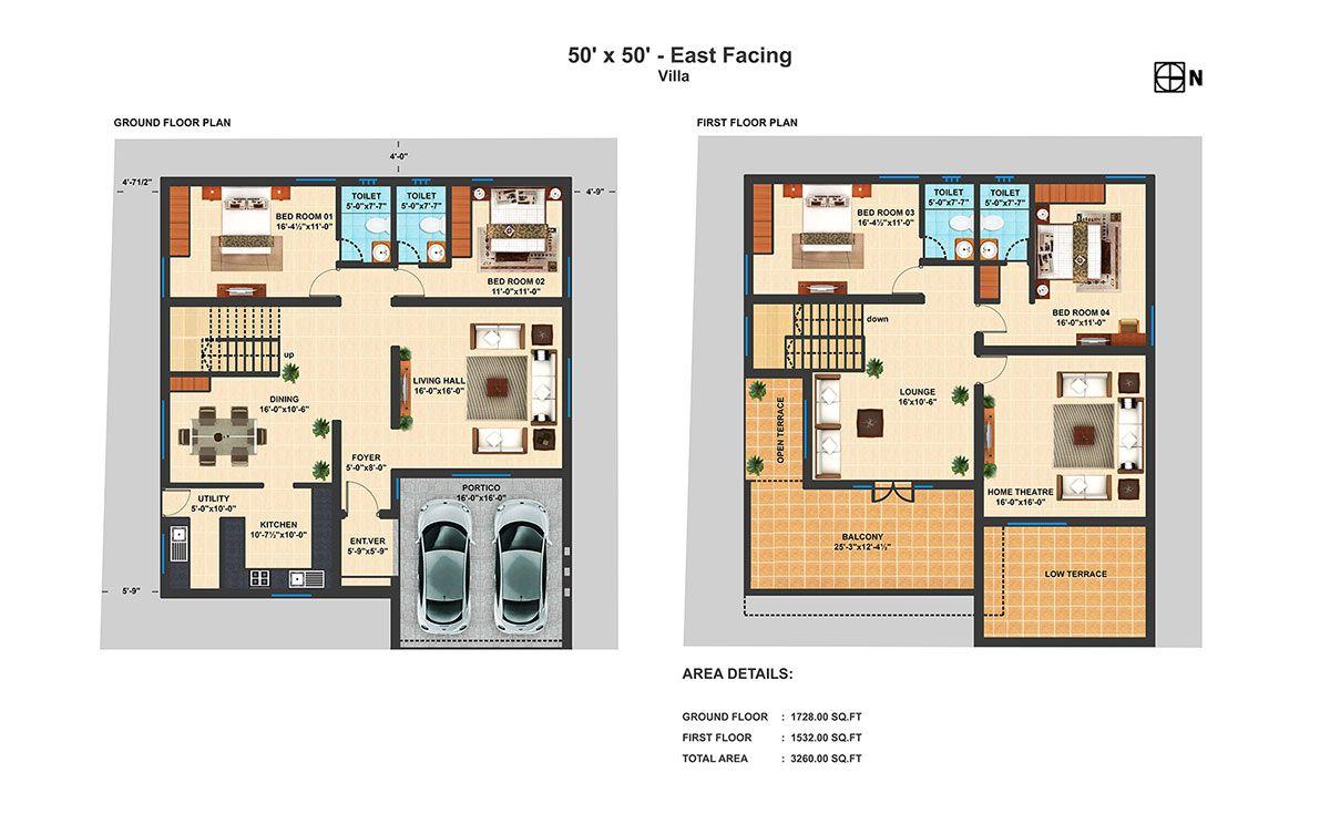 50x50 Ef 4 Bhk Duplex Villa Floor Plans Model House Plan New House Plans