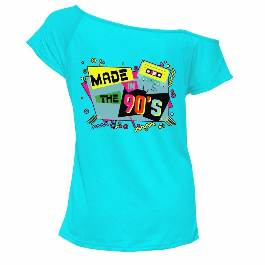 Ladies 80s Chick 1980s T Shirt Top Off Shoulder Retro Music Party Outfit 6969Lot