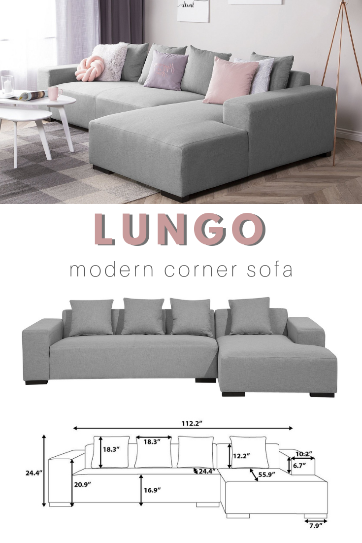 Left Hand Fabric Corner Sofa Light Gray LUNGO | Living Room ...