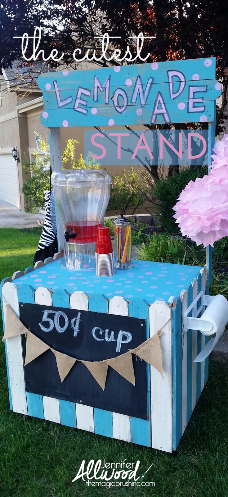 Perhaps the cutest lemonade stand ever (but I may be a little biased) DIY Summer Painting Projects by theMagicBrushinc.com