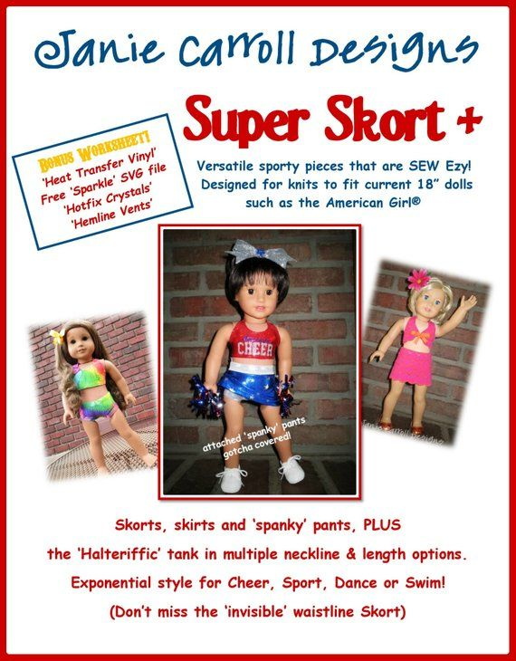 Super Skort Plus Pattern for 18 doll such as the American Girl brand doll