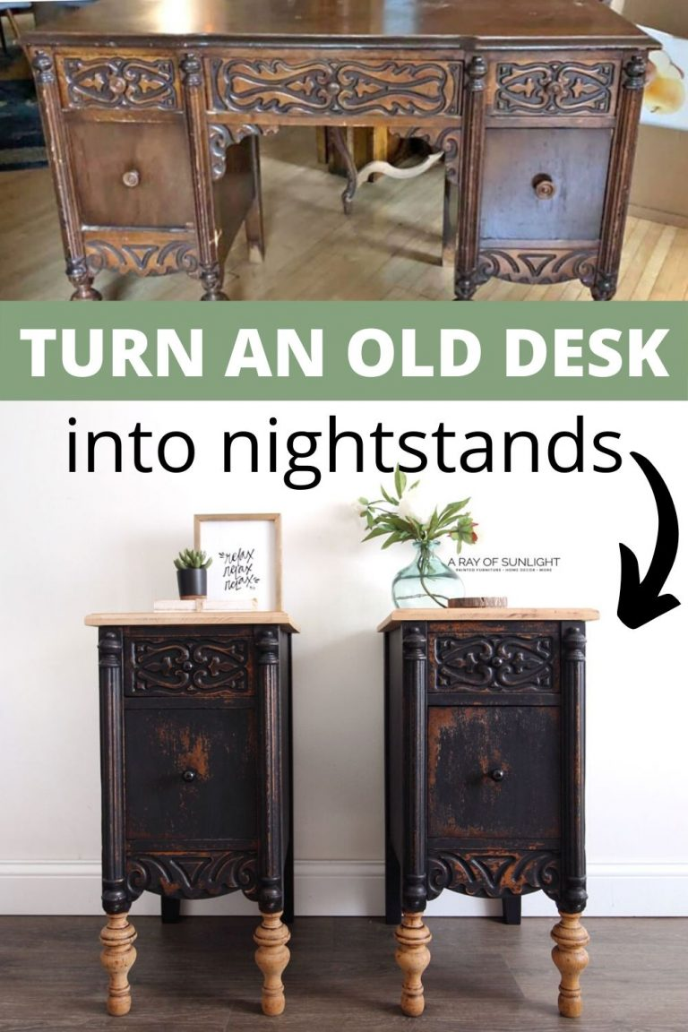 How To Repurpose Desks Into Tall Skinny Nightstands Furniture Makeover Black Painted Furniture Gray Painted Furniture