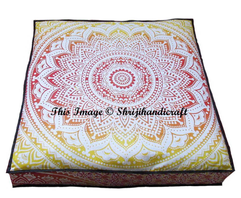 """35"""" Cushion Cover Seating Pouf OttomanFloor Pillow Indian"""