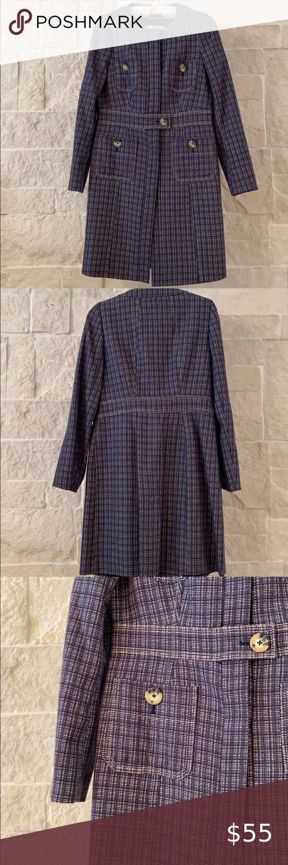 Boden Trench Coat Navy Plaid EUC —Size 8