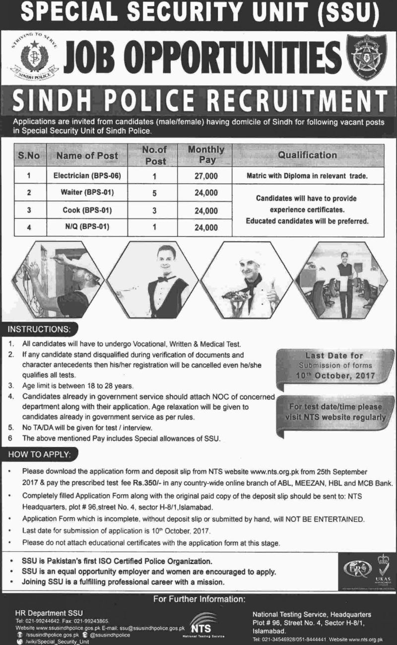 Sindh Police Jobs In Special Security Unit Ssu Jobs  September