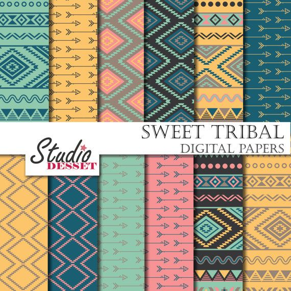 003 Sweet Tribal Paper, Ethnic Patterns in Baby Blue and Pink