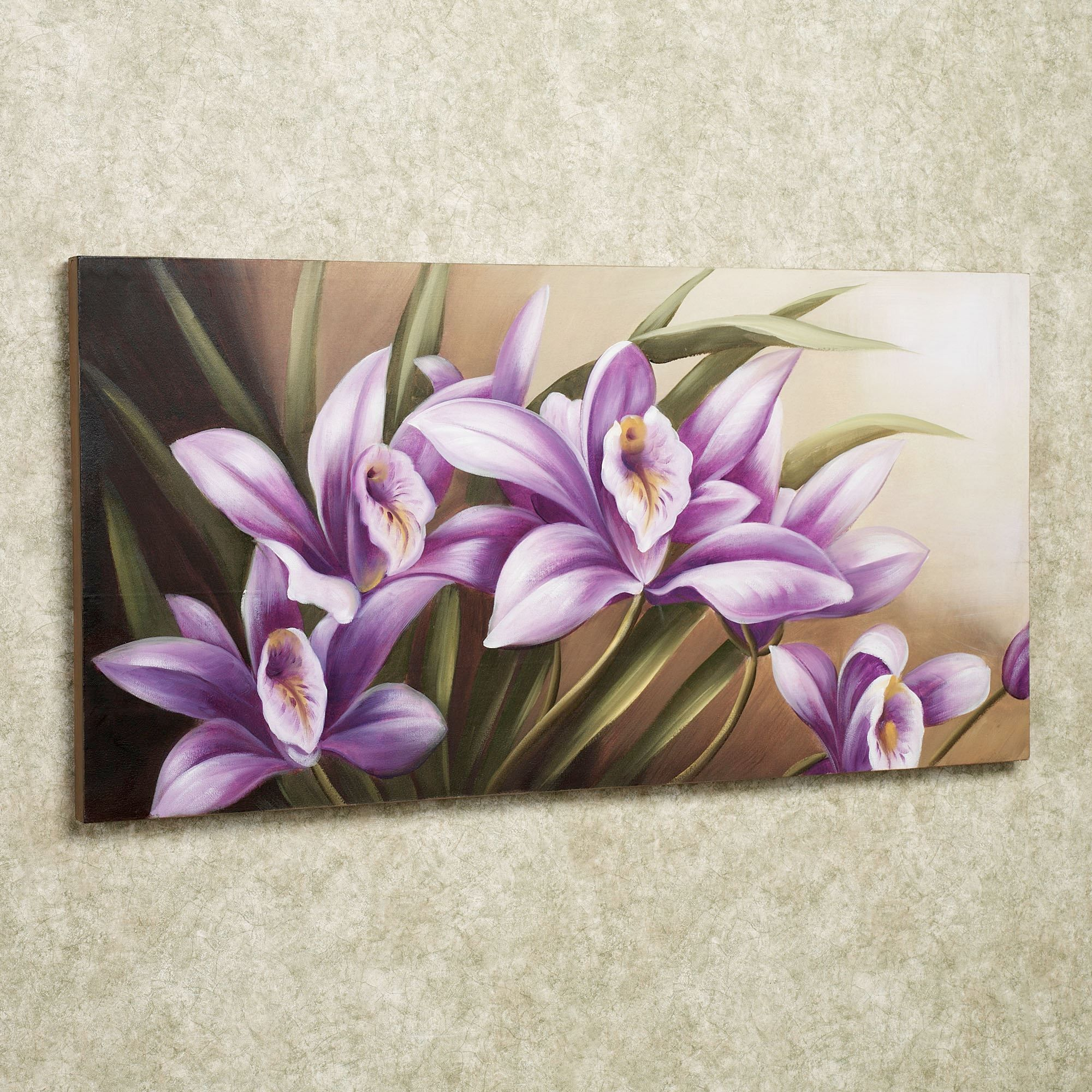 Wild Orchid Handpainted Floral Canvas Wall Art Floral Wall Art Canvases Flower Canvas Flower Painting Canvas