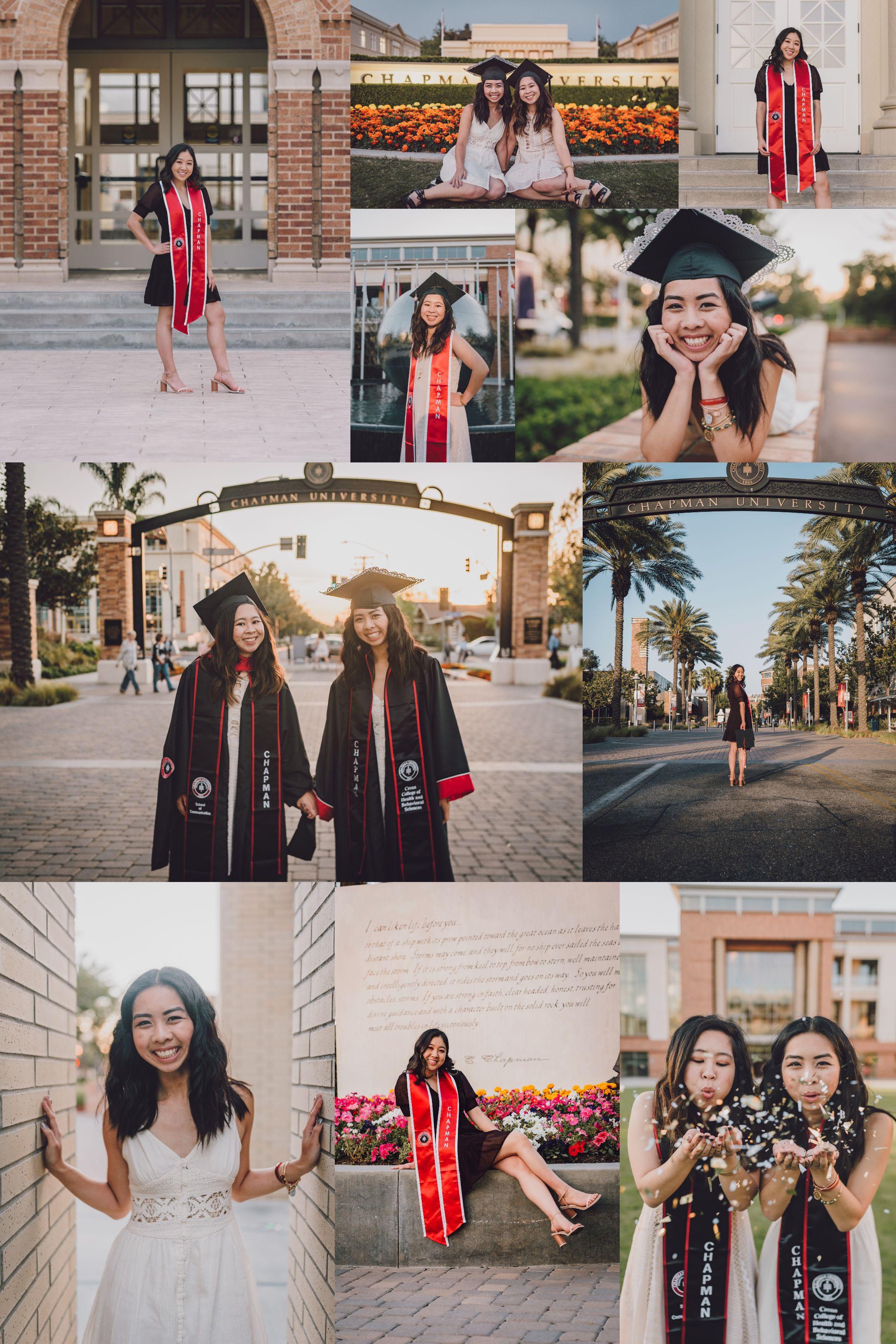 Chapman University Graduation Portrait Inspiration Pose Outfit Location Ideas In 2020 Graduation Portraits Grad Photoshoot Graduation Photoshoot