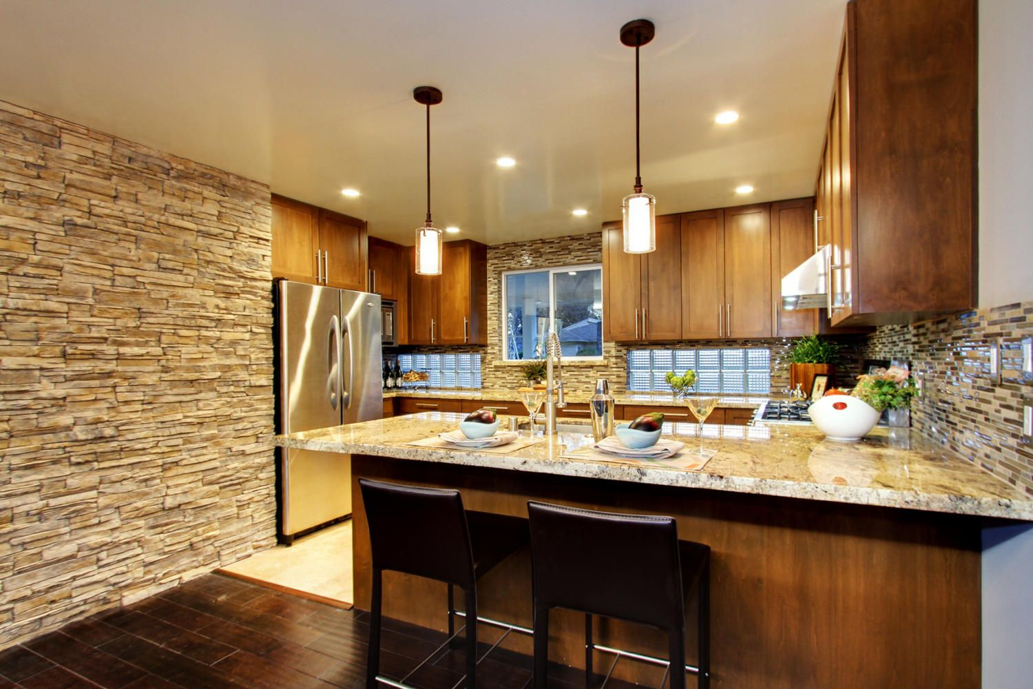Stacked Ledge Stone And Shaker Cabinets  Kitchens  Pinterest Fair Contemporary Kitchen Cabinets Review