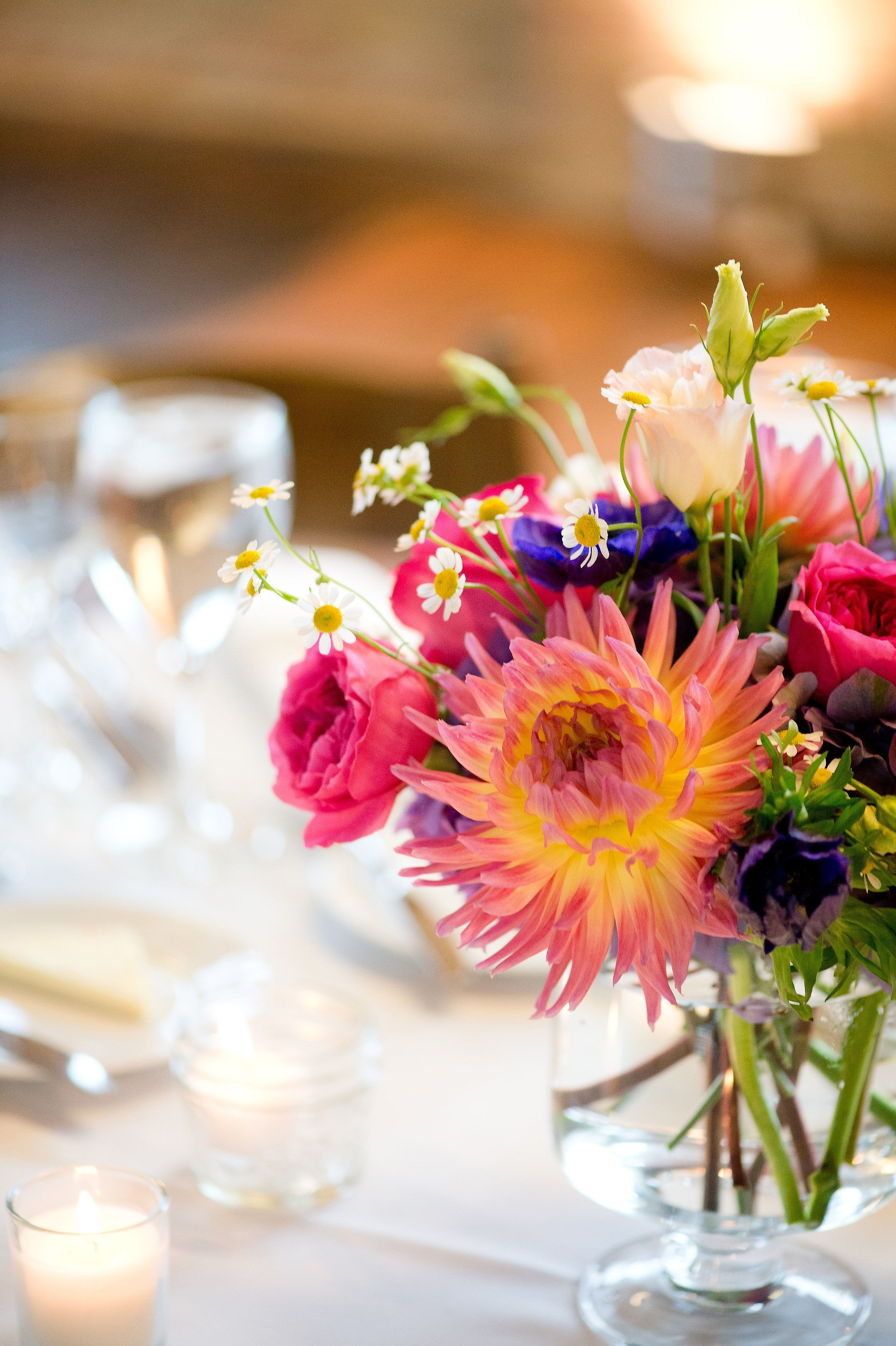 Bright And Colorful Wedding Centerpieces At Lacuna Artist Lofts