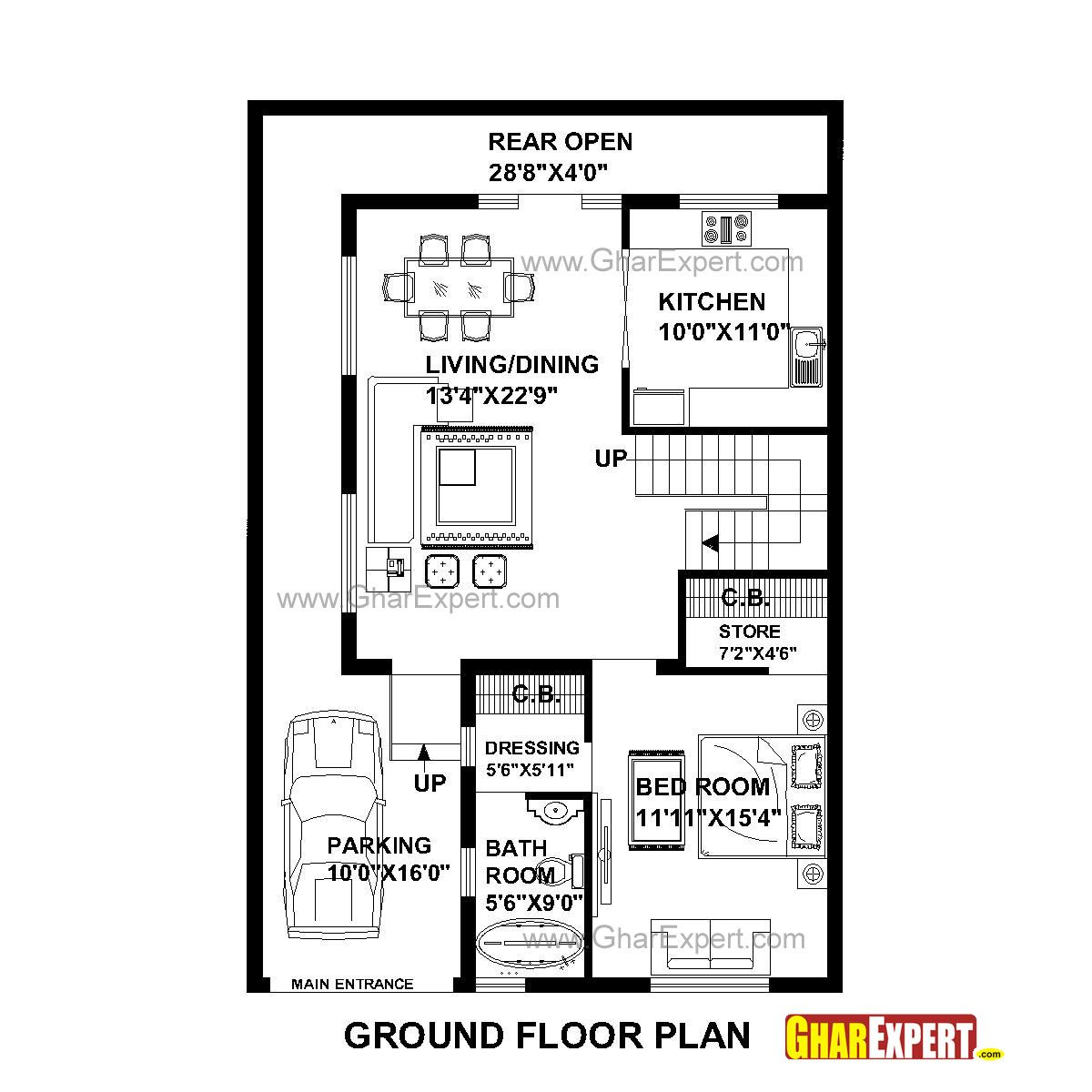 House Plan For 30 Feet By 45 Plot Size 150 Square Yards