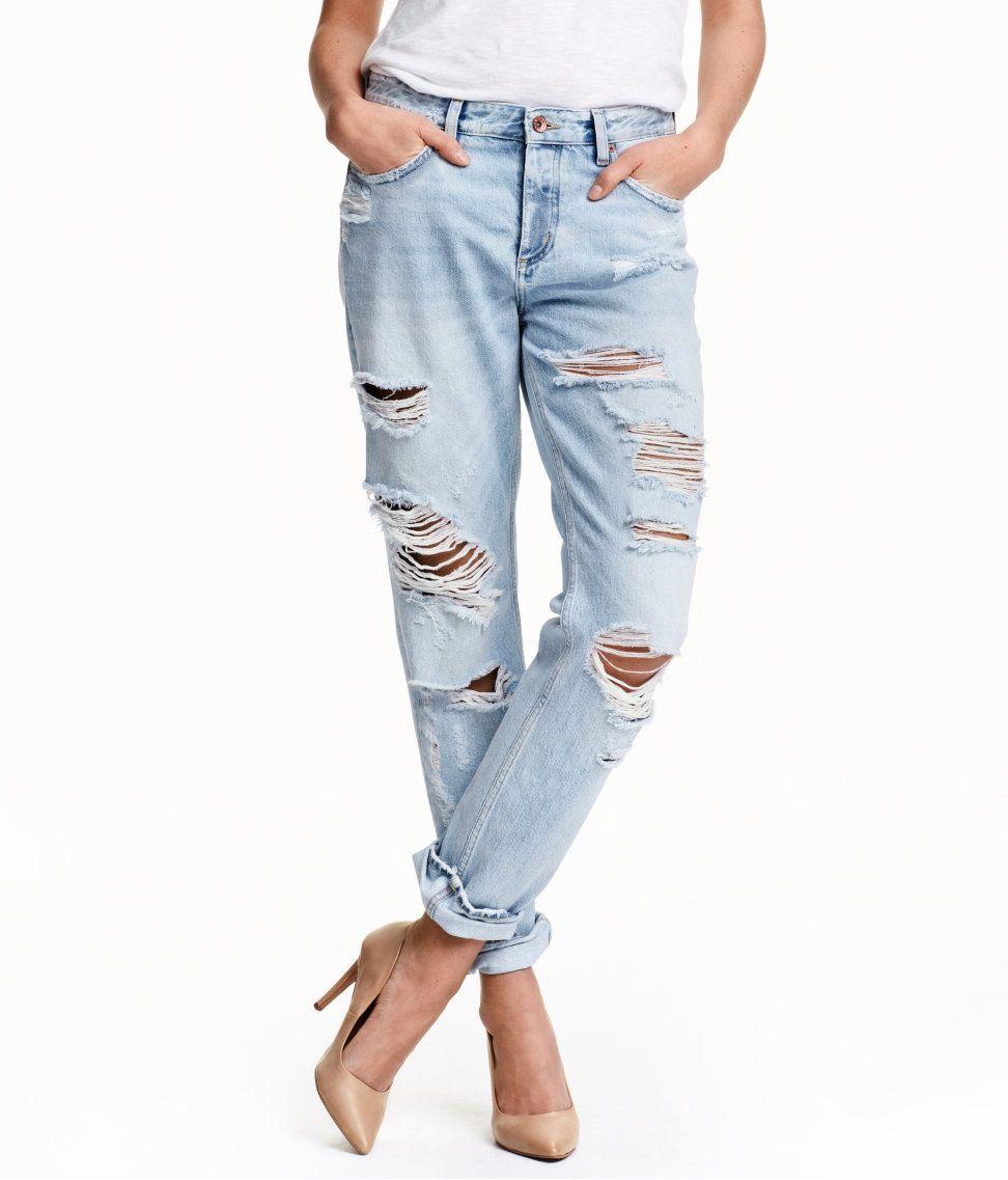 Boyfriend low ripped jeans | H&M Denim | H&M DENIM | Pinterest ...