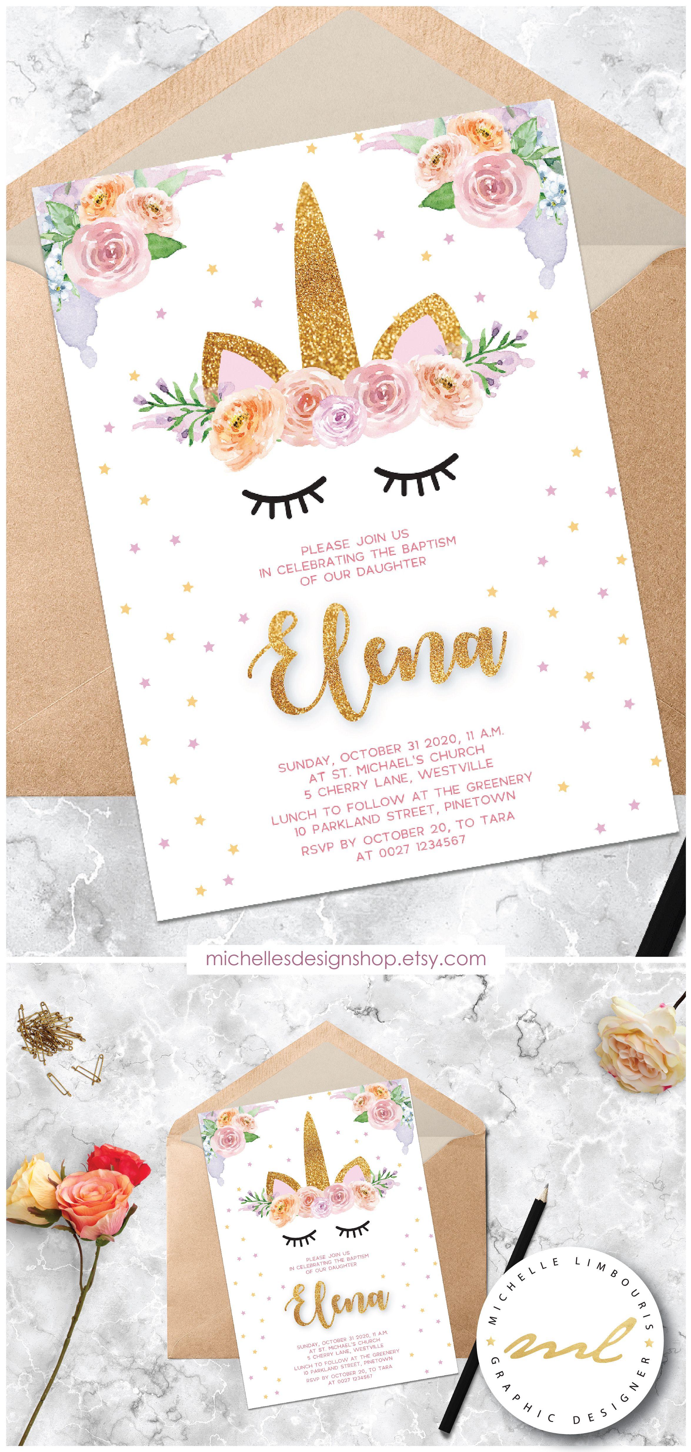 this beautiful unicorn christening invitation can be