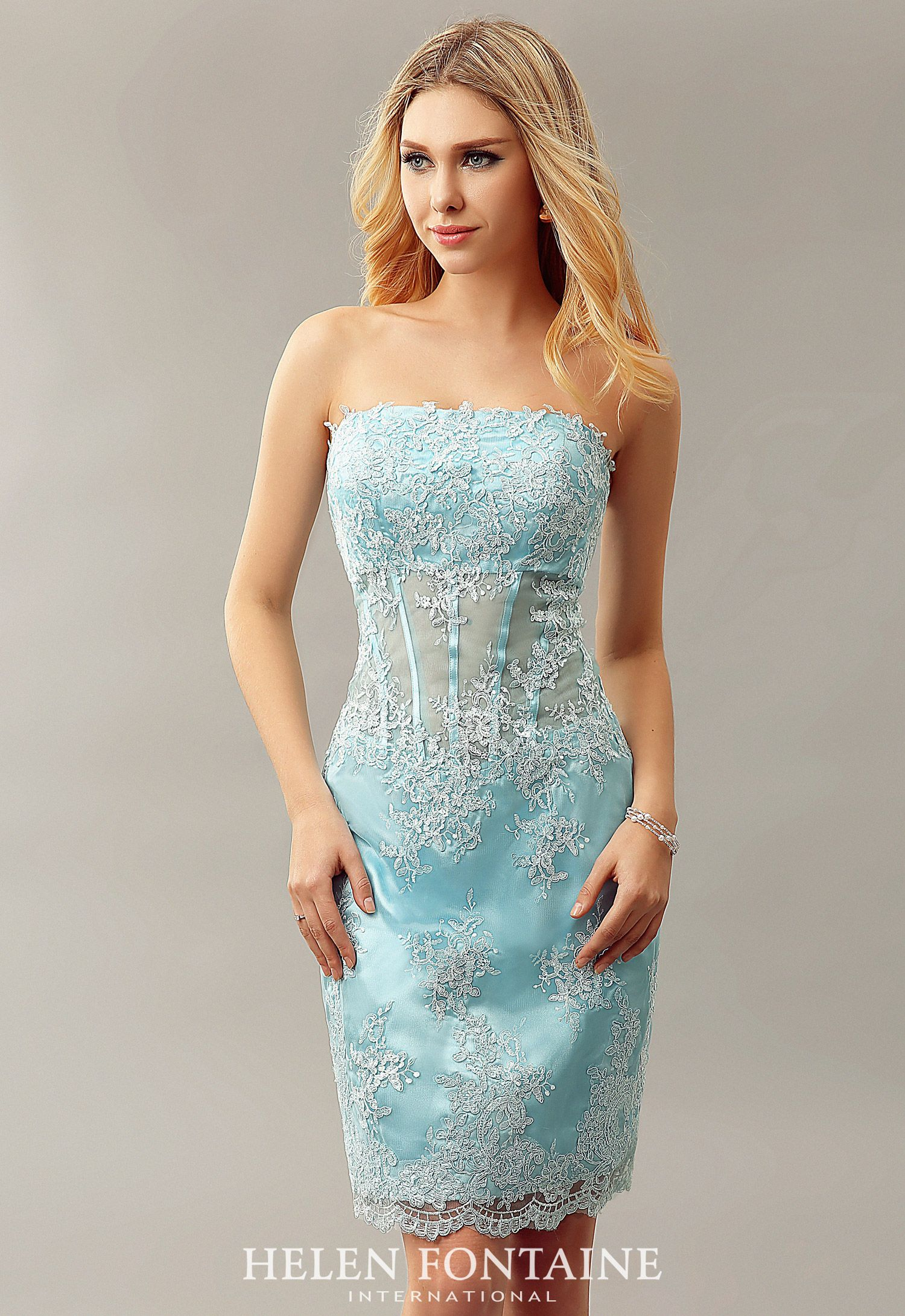 Sheer Bodice Lace Appliques Short Fitted Homecoming Dresses ...