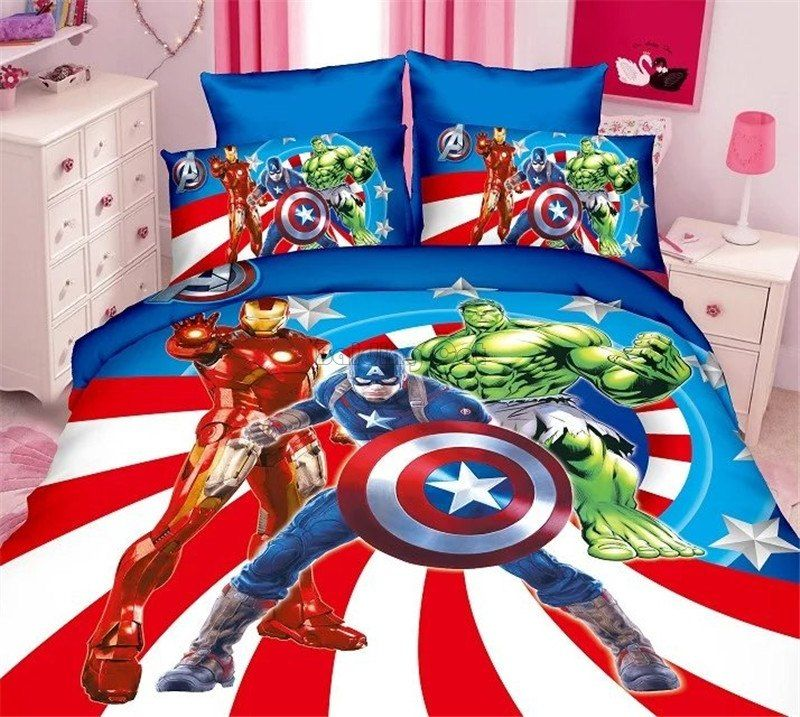 Cartoon Cotton Avengers Bedding Set Twin Full Size