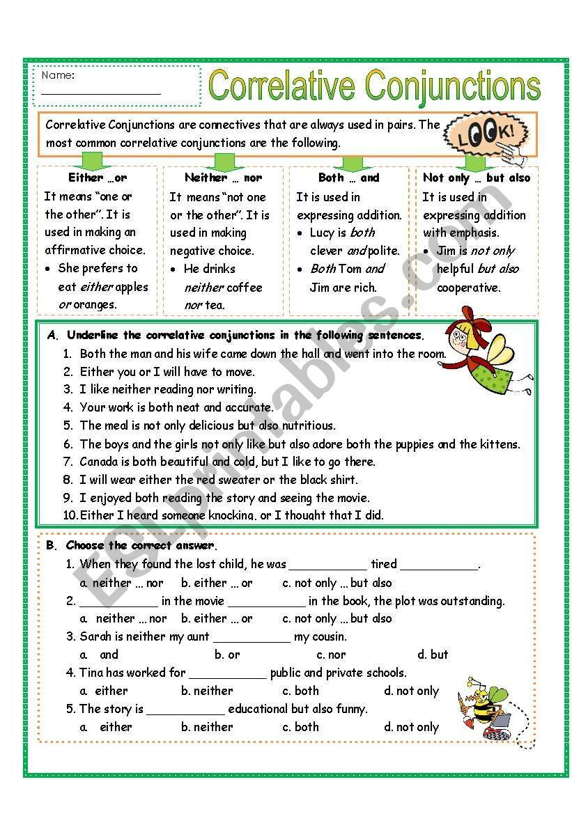 This 3 page-worksheet includes explanation of the meaning and use of correlative  conjunctions. It …   Correlative conjunctions [ 1169 x 821 Pixel ]
