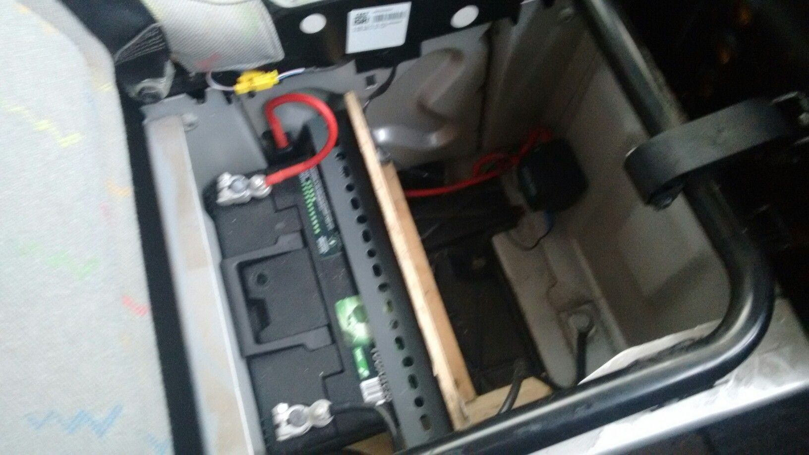 i then put the voltage sensitive relay in the middle seat box along with the leisure battery and. Black Bedroom Furniture Sets. Home Design Ideas