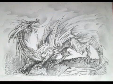 Drawing A Dragon Full Body And Wings Graphite Pencils Easy Tutorial Youtube Dragon Drawing Dragon Images Dragon Sketch