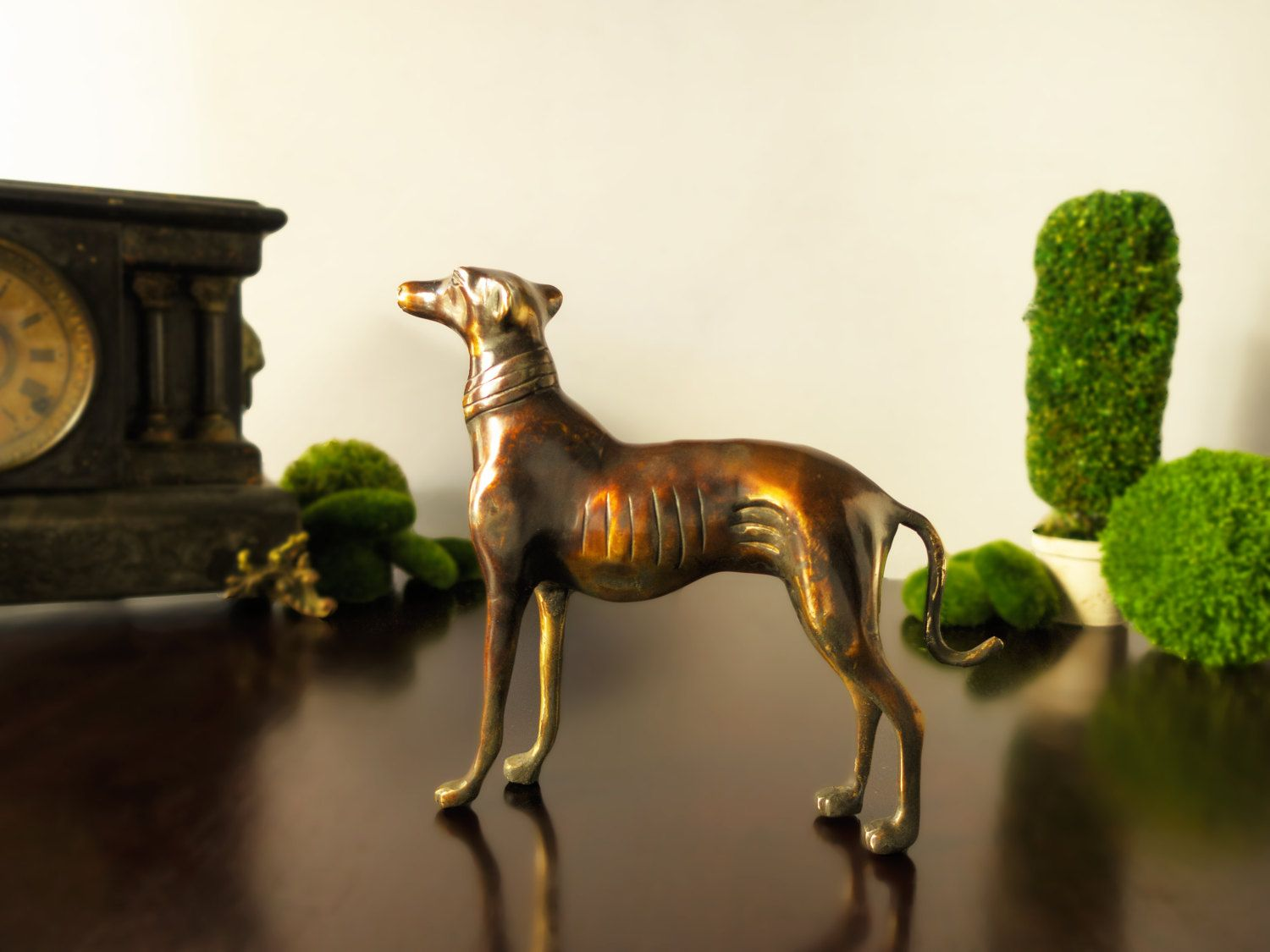 Vintage original hubley fox terrier 381 full figured large art statue - Vintage Bronze Greyhound Dog Doorstop Large Figurine Statue Sculpture Brass Dog Whippet Gold By Inventifdesigns On
